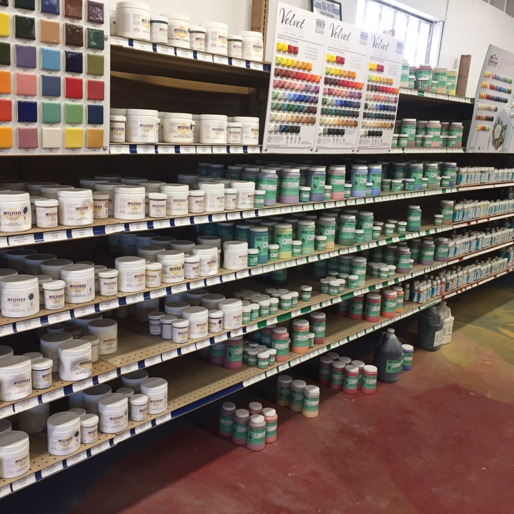 Huge variety of Glazes to choose from! Come visit the shop to see it!